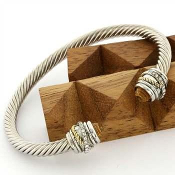 14k White Gold Overlay Citrine Cable Bangle Bracelet