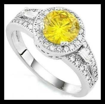 14k White Gold Overlay Citrine & White Sapphire Ring Size 6