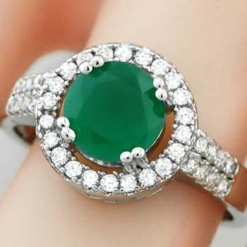 14k White Gold Overlay Emerald & White Sapphire Ring Size 8