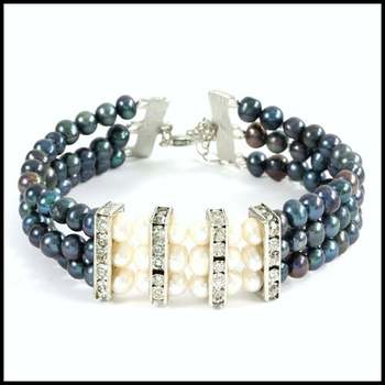 14k White Gold Overlay Fresh Water Black & White Pearls with Cubic Zirconia Bracelet