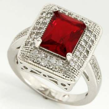 14k White Gold Overlay Garnet Ring Size 7