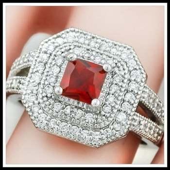14k White Gold Overlay Garnet Ring Size 8