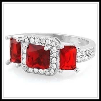 14k White Gold Overlay Garnet & White Sapphire Ring sz 7