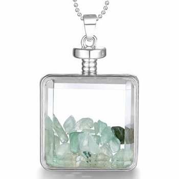 14k White Gold Overlay Genuine Green Quartz Necklace