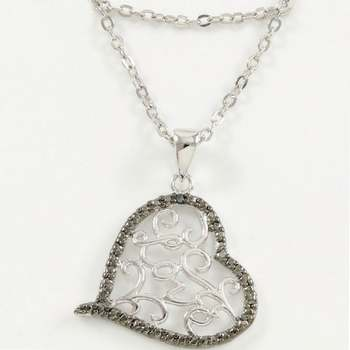 "14k White Gold Overlay ""Love"" Heart Necklace"
