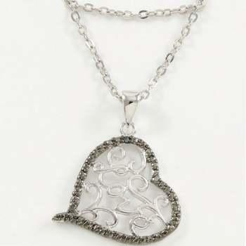 "14k White Gold Overlay ""Love"" Heart Necklace"