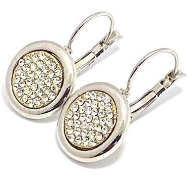 14k White Gold Overlay Man-made White Topaz Earrings