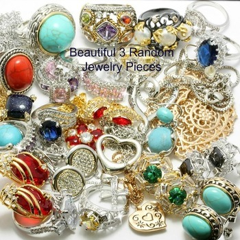 14k White Gold Overlay Mixed Multi-color Stones Wholesale Lot of 3 Random Jewelry Pieces