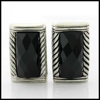 14k White Gold Overlay Onyx Earrings