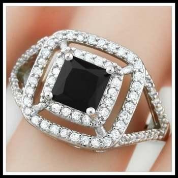14k White Gold Overlay Onyx Ring Size 8