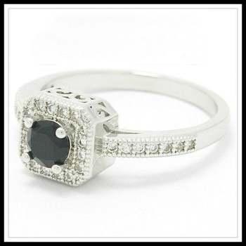 14k White Gold Overlay Onyx & White Sapphire Ring Size 8