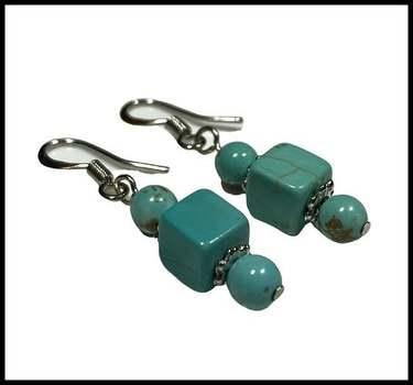 14k White Gold Overlay,  Pressed Turquoise Earrings