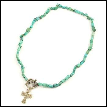 14k White Gold Overlay, Pressed Turquoise Necklace with Cross Pendant