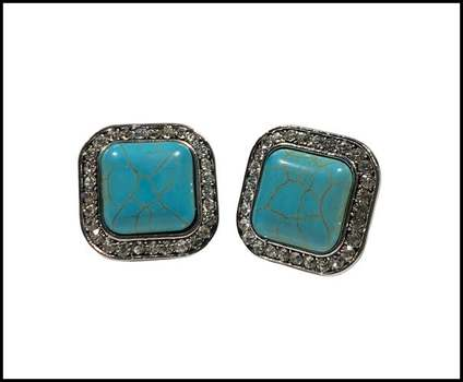 14k White Gold Overlay,  Pressed Turquoise & White Sapphire Earrings