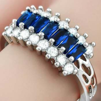 14k White Gold Overlay  Sapphire Ring Size 7