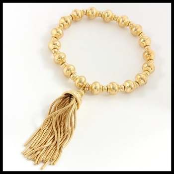 14k White Gold Overlay Strand Stretch Tassel Bracelet