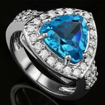 14k White Gold Overlay Swiss Blue Topaz Ring Size 8