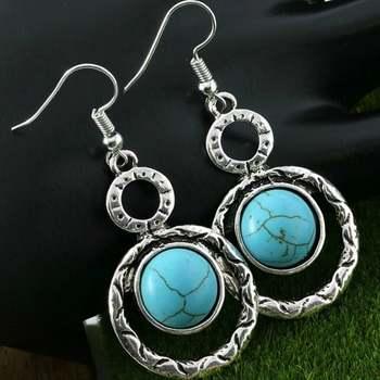 14k White Gold Overlay Turquoise Earrings