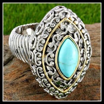 14k White Gold Overlay Turquoise Large Ring Size 7