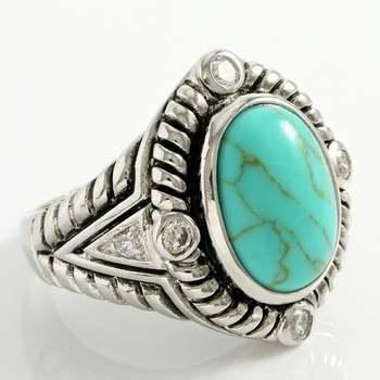 14k White Gold Overlay Turquoise Large Ring Size 8