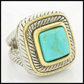 14k White Gold Overlay Turquoise Ring Size 8