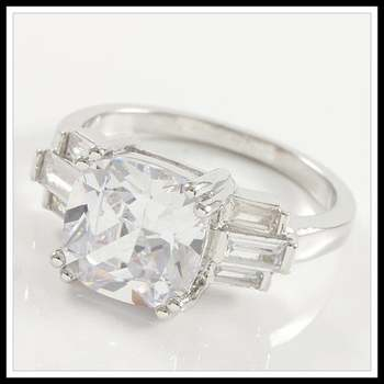 14k White Gold Overlay White Sapphire Ring Size 5