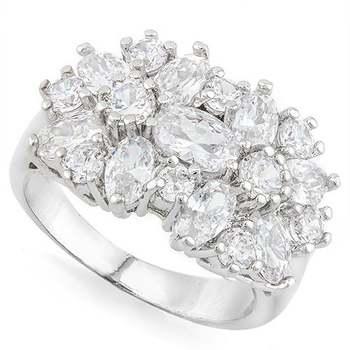 14k White Gold Overlay White Sapphire Ring Size 6