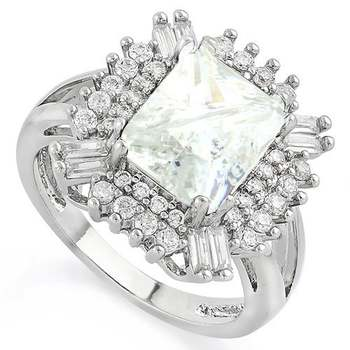 14k White Gold Overlay  White Sapphire Ring Size 7