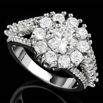14k White Gold Overlay White Sapphire Ring Size 8