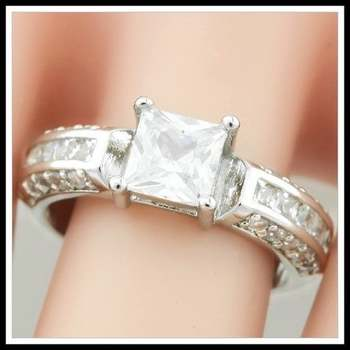 14k White Gold Overlay White Sapphire Ring Size 9