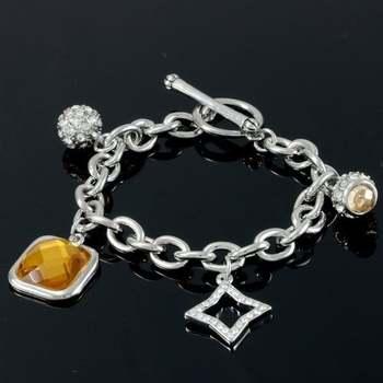 14k White Gold Overlay White & Yellow Topaz Bracelet