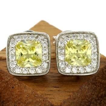 14k White Gold Overlay Yellow Sapphire Stud Earrings