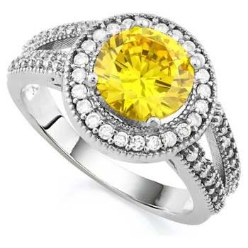 14k White Gold Overlay Yellow Topaz Ring Size 8