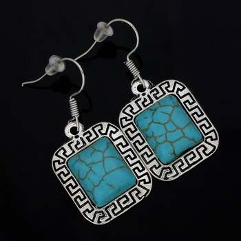 14k White Gold Plated,  Pressed Turquoise Greek Style Earrings