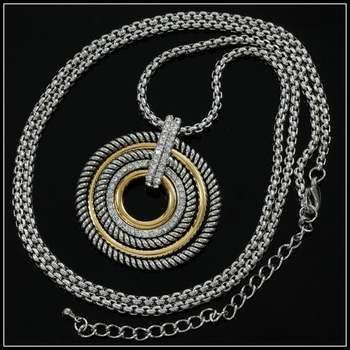 14k White & Yellow Gold Overlay, 0.55ctw White Sapphire Necklace