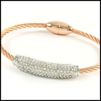 14k White&Rose Gold Overlay, 1.5ctw White Sapphire Cable Magnetic Bracelet