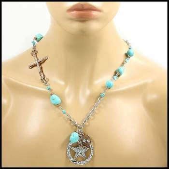 14k White&Rose Gold Overlay, 3.2ctw White Sapphire & Pressed Turquoise Necklace