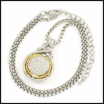 14k White&Yellow Gold Overlay, 0.40ctw AAA Grade CZ's Necklace