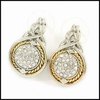 14k White&Yellow Gold Overlay, 0.60ctw AAA Grade CZ's Earrings