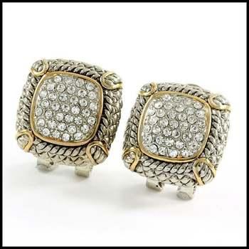 14k White&Yellow Gold Overlay, 0.9ctw White Sapphire Omega Backs Earrings