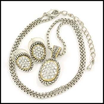 14k White&Yellow Gold Overlay 1.0ctw White Sapphire Set of Necklace & Earrings