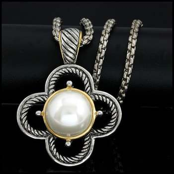 14k White&Yellow Gold Overlay, 17mm White Fresh Water Pearl Necklace