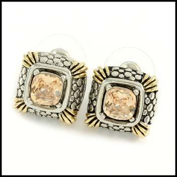 14k White&Yellow Gold Overlay, 3.0ctw Citrine Earrings