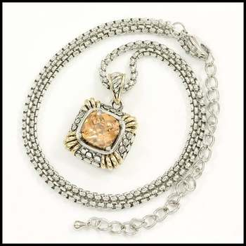 14k White&Yellow Gold Overlay, 3.0ctw Citrine Necklace