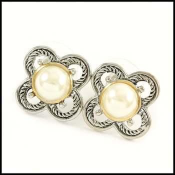 14k White&Yellow Gold Overlay, 8mm White Fresh Water Pearl Earrings