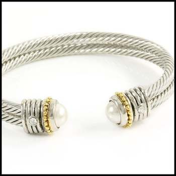 14k White&Yellow Gold Overlay, 8mm White Pearl & 0.08ctw White Sapphire Bangle Bracelet
