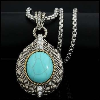 14k White&Yellow Gold Overlay, Pressed Turquoise & 0.65ctw White Sapphire Necklace