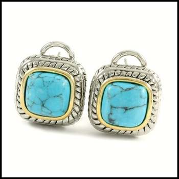 14k White&Yellow Gold Overlay, Pressed Turquoise Earrings