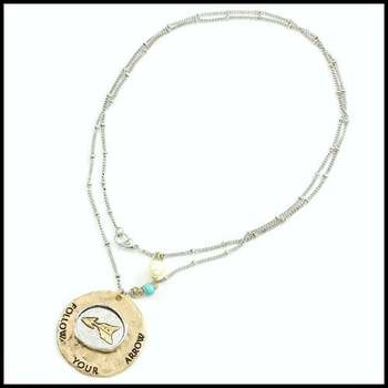 14k White&Yellow Gold Overlay, White Fresh Water Pearl & Pressed Turquoise Necklace