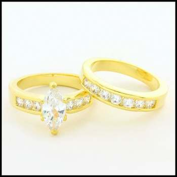 14k Yellow Gold Overlay, 2.50ctw AAA Grade CZ's Bridal Set of 2 Rings Size 6